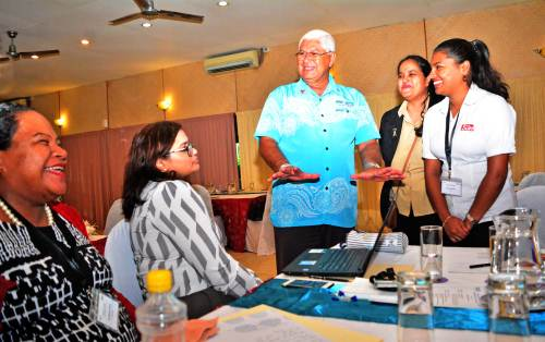 Fiji's Assistant Health Minister shares a light moment with some media participants of the workshop. Picture: JONA KONATACI