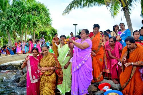 Devotees performing the last rituals of Ram Naumi at the Suva foreshore this afternoon. Picture: JONA KONATACI