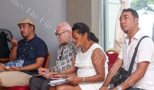 From left: Fijian designer Michael Mausio, Fiji Fashion Week (FJFW) ambassador Nicholas Huxley and FJFW2018 show producer, FJFW managing director Ellen Whippy Knight and FJFW2018 event stylist Neil Foon. Picture: FOTOFUSION