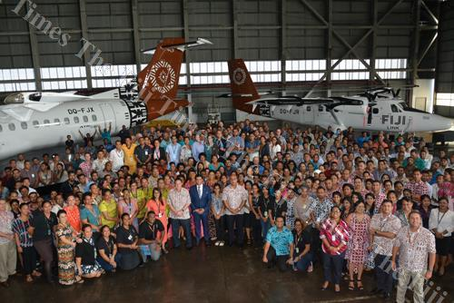 Attorney-General and Minister for Economy Aiyaz Sayed-Khaiyum with Fiji Airways management and staff members during the announcement of the Company's 2017 Financial Year and Budget Consultation in Nadi. Picture: REINAL CHAND