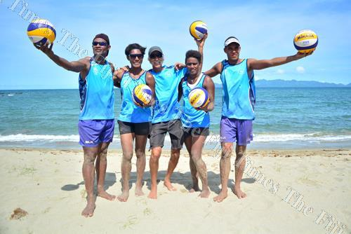 The Fiji beach volleyball players (L-R) Inia Korowale, Laite Nima, Iliseva Ratudina and Sairusi Cavula with their coach Todd Edwards after their training session at Pacific Harbour yesterday. Picture: JOVESA NAISUA
