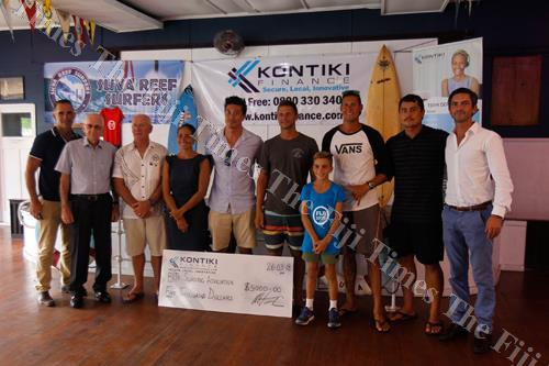 Kontiki Finance and Fiji Surfing Association surfers and officials at the cheque presentation yesterday. Picture: SUPPLIED