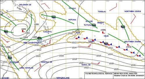 The weather map that shows the trough of low pressure over the group, and brings with it associated cloud and showers. Picture: SUPPLIED