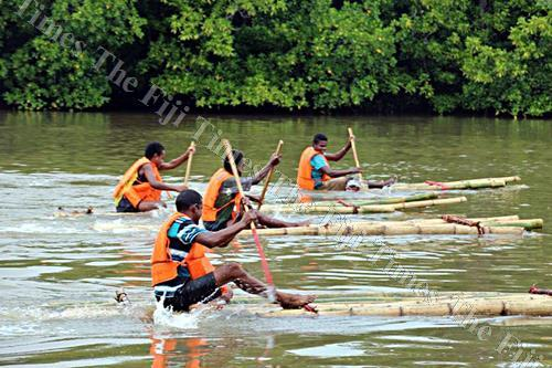 Youths of Nadogo participate in a bilibili race along Wainikoro River in Macuata. Picture: SUPPLIED