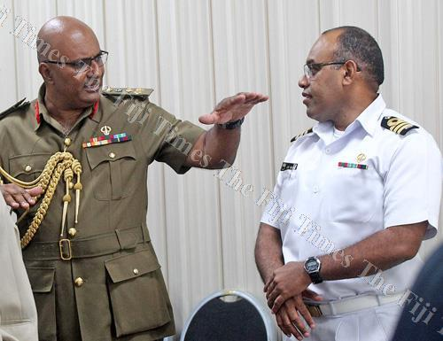 Republic of Fiji Military Forces (RFMF) deputy commander Brigadier-General Mohammed Aziz and director finance/logistics/accquisition Commander (navy) Lepani Vaniqi after the Public Accounts Committee sitting yesterday. Picture: JONA KONATACI
