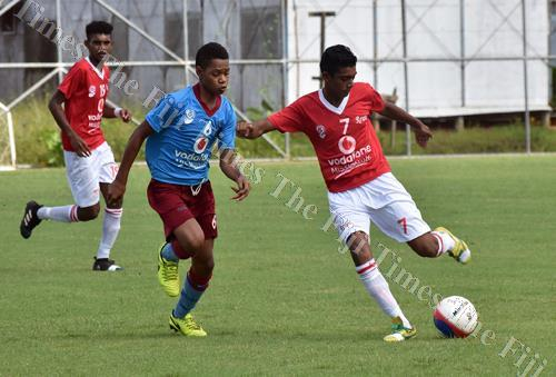 Action from Navua and Rewa under-16 clash at the Fiji Football Association headquarters ground on Saturday. Picture: FIJI FA MEDIA