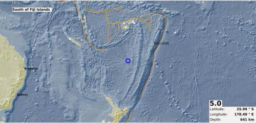 The map showing the epicentre of the 5.0 magnitude earthquake that occurred in the Fiji region last night. Picture: SUPPLIED