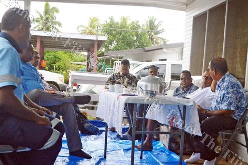 Farmers in the Wailevu Tiri area during a consultation with officials from the Ministry of Lands yesterday. Picture: LUKE RAWALAI