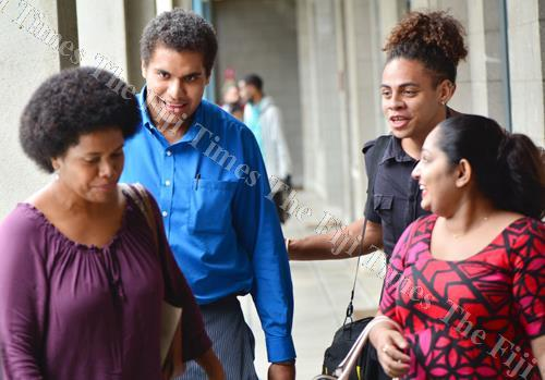 NFP provisionial candidate Lenora Qereqeretabua shares a light moment with youth leader Samuela Savu and NFP youth member Dylan Kava after the party's submissions to the Standing Committee on Justice, Law and Human Rights. The author says online spaces, s