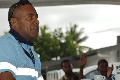 Divisional Lands Officer North Joseva Vuniamatana stresses a point during the consultation. Picture: LUKE RAWALAI