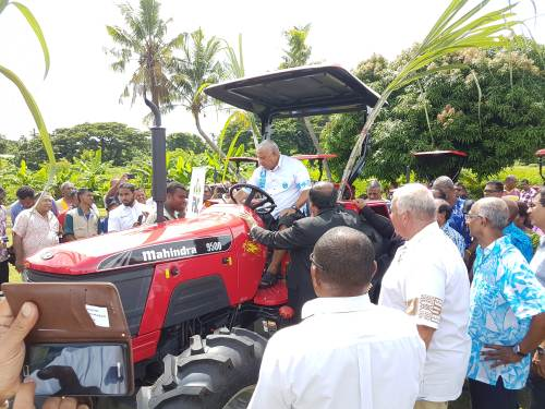 Prime Minister Voreqe Bainimarama at the handover of the 4WD tractors today. Picture: FELIX CHAUDHARY