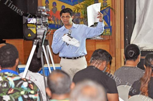Attorney-General and Minister for Economy Aiyaz Sayed-Khaiyum during the budget consultation at De Vos on the Park last Saturday. Picture: RAMA