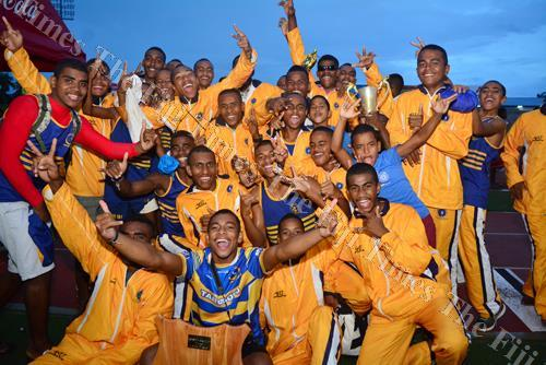 RKS celebrate after winning the boys overall division after the Tailevu zone yesterday. Picture: JOVESA NAISUA