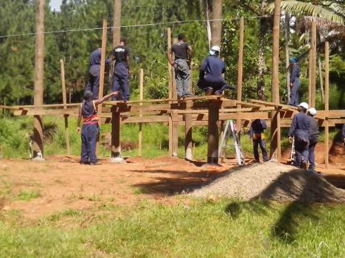 Trainees engaged in building a house in Nabalebale village Cakaudrove. Picture: SUPPLIED