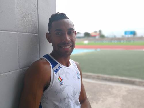 Only one... Fijian hurdler Errol Qaqa at the ANZ Stadium. Picture: Lice Movono