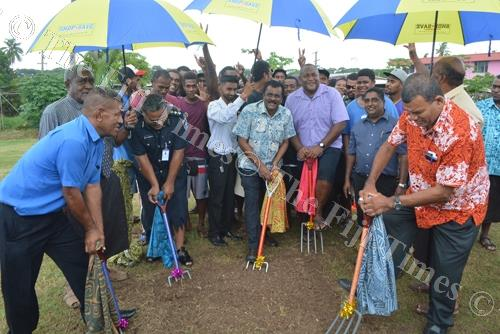 Minister for Local Government Parveen Kumar (centre) with City Council Executives and Youths commission the ground breaking ceremony for the Natokowaqa Multi-Purpose Outdoor Sports Facility in Lautoka. Picture: REINAL CHAND