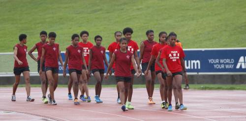 Adi Cakobau School who participated under the Dakua Club banner at today's Athletics Fiji Easter Games. Picture: LICE MOVONO