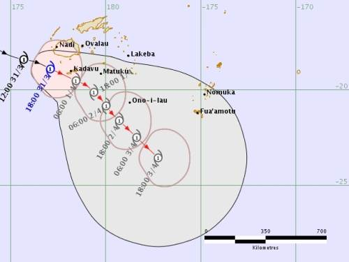 The latest TC Josie forecast track map issued from the Fiji Met Office this morning. Picture: SUPPLIED