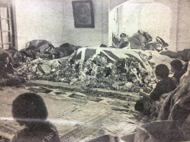 Lady Liku behind the coffin of Ratu Sir Lala Sukuna at Rairaiwaqa, Suva, as his body lay in state before going to Lakeba for burial. Picture: FILE