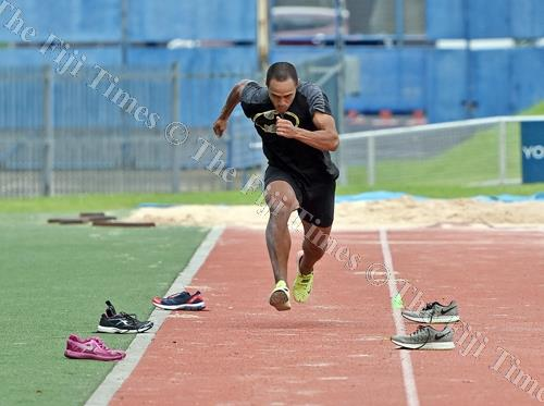 Eugene Vollmer competes in triple jump event during the Fiji Athletics Grand Prix at the ANZ Stadium. Picture: RAMA