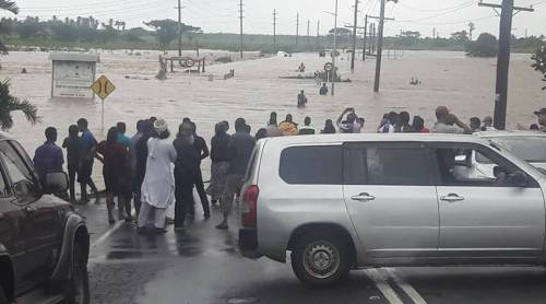 Entry in and out of Nadi is shut off by rising flood waters earlier today. Picture: WILLIAM TABUYA