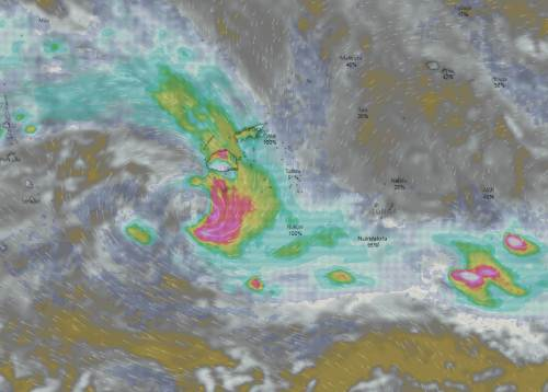 TC Josie brings with it heavy rain for the entire group. Picture: WINDY