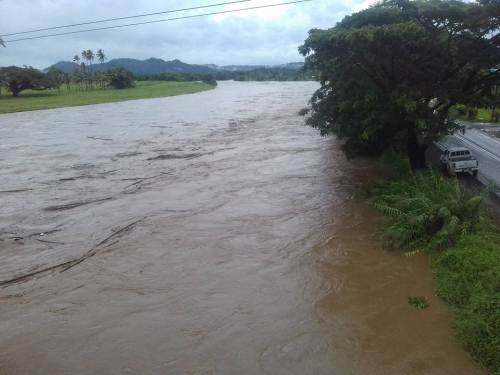 The Navua river has burst its bank as communities brace for high tide at 7pm. Picture: SUPPLIED/NIANI KURUVESI