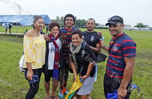 Salestino Ravutaumada, third from left, of Rotorua Boys High School with his family after their match against Fiji U20 at Bidesi Grounds in Suva on Saturday, March 31, 2018. Picture: JONACANI LALAKOBAU
