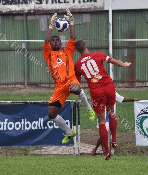 Ba goalkeeper Epeli Codro makes a save against Amicale FC during their clash at Govind Park in Ba. Picture: BALJEET SINGH