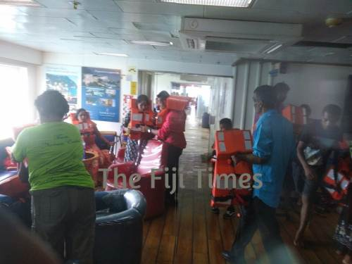 "Passengers on the ""Spirit of Altruism"" have been given life jackets and are awaiting rescue efforts. Picture: SUPPLIED/LEPANI BATABA"