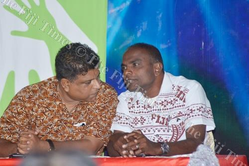 NFP provisional candidate Ajay Kumar (right) speaks with Faizal Koya at the NFP's meeting in Lautoka. Picture: REINAL CHAND