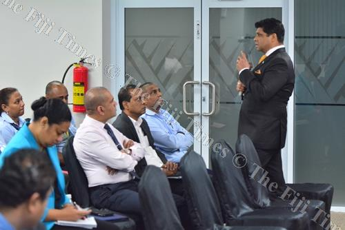 Attorney-General and Minister for Economy Aiyaz Sayed-Khaiyum with members of the private sector during the 2018-2019 budget consultations in Suva last week. Picture: JOVESA NAISUA