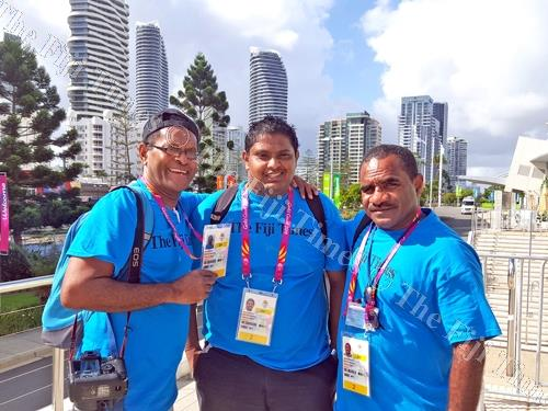 The Fiji Times team at the Commonwealth Games from left, chief photogrpaher, Eliki Nukutabu, sports reporter, Pravin Narain and deputy sports editor Maikeli Seru. Picture: SUPPLIED