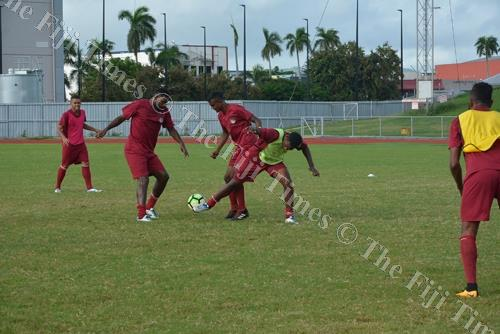 Osea Vakatalesau, second from left, trains with the Lautoka football team yesterday. Picture: REINAL CHAND