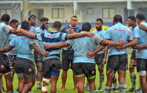 Fiji U20 coach, Koli Sewabu with his players during a training session. Picture: JONACANI LALAKOBAU