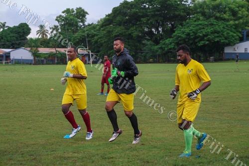 Lautoka Football Association team captain Benaminio Mateinaqara, centre, leads the Lautoka goalkeepers in a training session. Picture: FIJI FA MEDIA