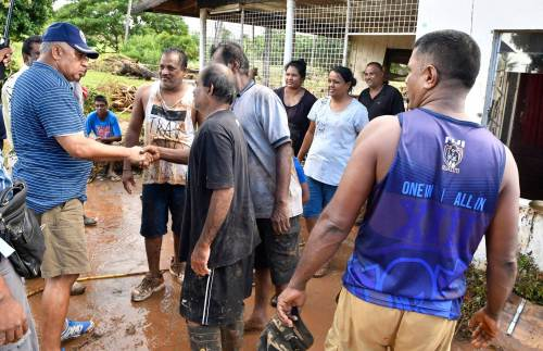 Fiji's Prime Minister Voreqe Bainimarama commended the resilience shown by Fijians of Vatulaulau, Ba, during his visit yesterday of areas affected by the floods. Picture: SUPPLIED