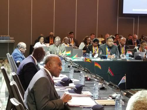 Fiji's Minister for Youth and Sports Laisenia Tuitubou delivers his presentation during the 9th Commonwealth Sports Ministers Meeting in Gold Coast, Australia. Picture: SUPPLIED