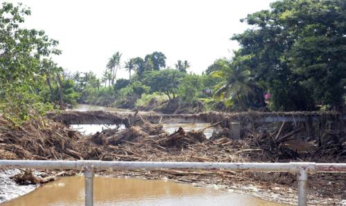 Debris clog this tramline bridge at Matawalu in Lautoka. Picture: BALJEET SINGH
