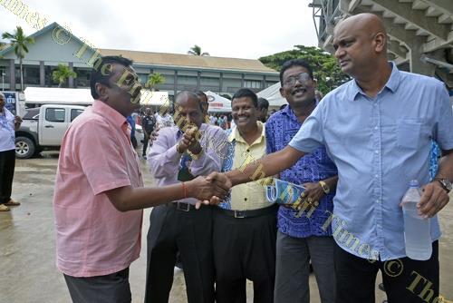 Minister for Local Government Parveen Kumar (Left) greets Then India Valiva (TIV) Sangam National President Tarunesh Reddy (right) as Then India Sanmarga ikya (TISI) Sangam General Manager Karna Waddi Raju (2nd from left), TISI National President Sadasiva