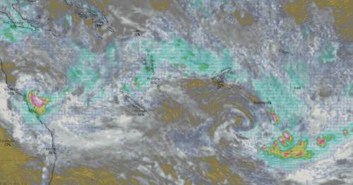 A Windy weather map showing two weather systems near Fiji. Picture: WINDY