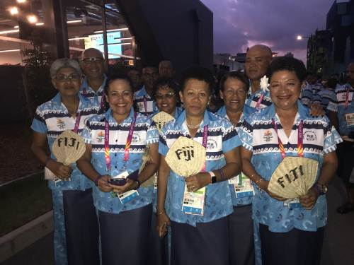 Our bowling team before the opening ceremony this evening. PICTURE: SITIVENI TWAWAKEVOU