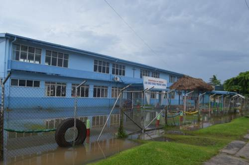 Holy Family Primary School in Labasa partially flooded this morning. Picture SERAFINA SILAITOGA