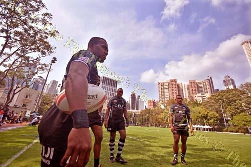 Fiji Airways Fiji 7s players, from left, Waisea Nacuqu, Isake Katonibau and Eroni Sau during the team's training session at the So Kon Po Recreation Ground. Picture: RAMA