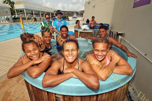 Members of the Fiji Pearls netball side cool off after a training session in Gold Coast, Australia yesterday. Picture: ELIKI NUKUTABU