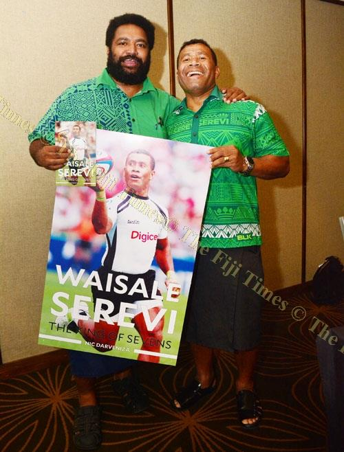 2002 Commonwealth Games gold medallist Nacanieli Qerewaqa Takayawa with Waisale Serevi during Serevi's book launch at the Holiday Inn, Suva. Picture: JOVESA NAISUA