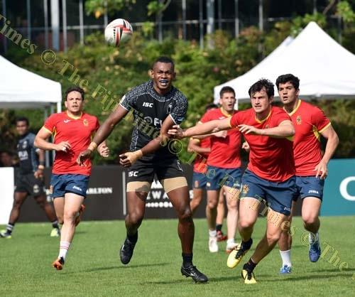 Sevuloni Mocenacagi of the Fiji Airways Fiji 7s team clears the ball against Spain during a warm up match at So Kon Po Recreation Ground in Hong Kong. Picture: RAMA