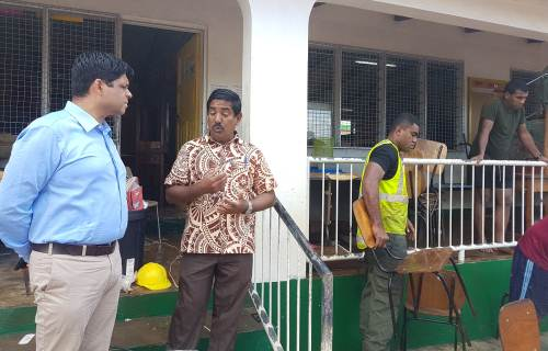 Attorney General Aiyaz Sayed-Khaiyum inspects a major cleanup operation at Ba Muslim Primary School by RFMF soldiers. Picture FELIX CHAUDHARY