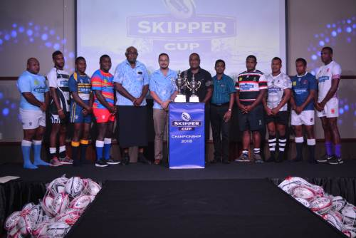 The union captains at the launch of the Skipper FRU Cup premiership at the GPH in Suva today. Photo: PAULINI RATULAILAI