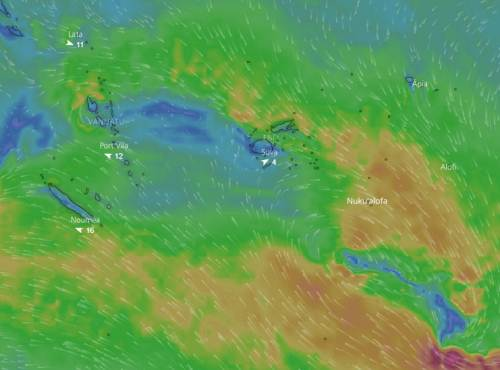 The weather map at lunch time today showing approaching an tropical disturbance. Picture: Windy